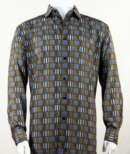 Bassiri Charcoal & Bronze Checkered Long Sleeve Camp Shirt