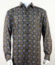 Bassiri Charcoal & Bronze Checkered Long Sleeve Camp Shirt