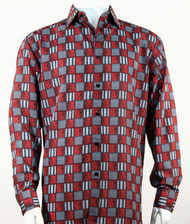 Bassiri Charcoal & Red Checkered Long Sleeve Camp Shirt