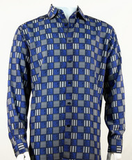 Bassiri Charcoal & Royal Checkered Long Sleeve Camp Shirt