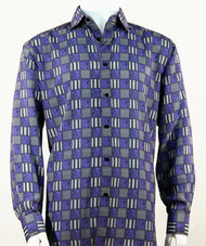 Bassiri Charcoal & Purple Checkered Long Sleeve Camp Shirt