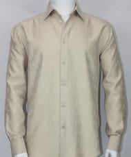 Bassiri Champagne Solid Weave Long Sleeve Camp Shirt