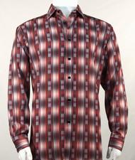 Bassiri Brick Red Line Graph Print Long Sleeve Camp Shirt