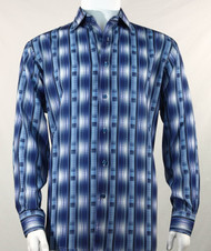 Bassiri Blue Line Graph Print Long Sleeve Camp Shirt