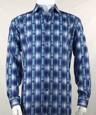 Bassiri Blue Line Graph Print Long Sleeve Camp Shirt