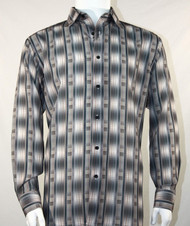 Bassiri Grey Line Graph Print Long Sleeve Camp Shirt