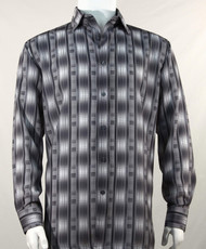 Bassiri Charcoal Line Graph Print Long Sleeve Camp Shirt