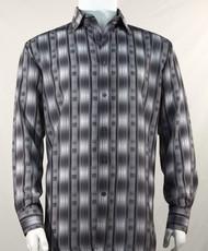 Bassiri Charcoal Line Graph Print Long Sleeve Camp Shirt