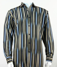Bassiri Blue & Olive Vertical Stripe Long Sleeve Camp Shirt
