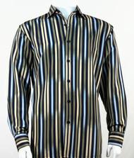 Bassiri Blue & Olive Vertical Stripe Long Sleeve Camp Shirt
