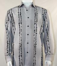 Bassiri Black & White Honeycomb Print Long Sleeve Camp Shirt