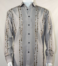 Bassiri Brown Honeycomb Print Long Sleeve Camp Shirt