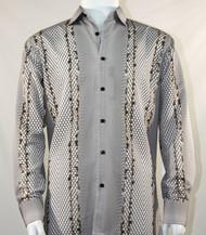 Bassiri Brown Honeycomb Print Long Sleeve Camp Shirt