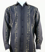 Bassiri Navy Honeycomb Print Long Sleeve Camp Shirt