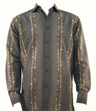Bassiri Brown & Gold Honeycomb Print Long Sleeve Camp Shirt