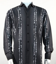 Bassiri White & Black Honeycomb Print Long Sleeve Camp Shirt