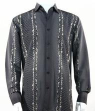 Bassiri Charcoal Honeycomb Print Long Sleeve Camp Shirt