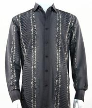Bassiri Charcoal Honeycomb Print Long Sleeve Camp Shirt