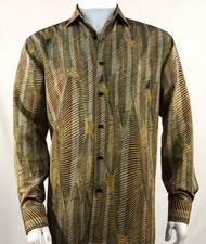 Bassiri Gold Wave Motif Long Sleeve Camp Shirt