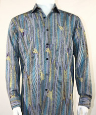 Bassiri Turquoise Wave Motif Long Sleeve Camp Shirt