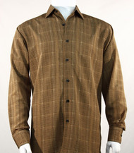 Bassiri Brown Grid Print Long Sleeve Camp Shirt