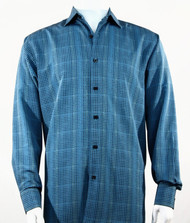 Bassiri Blue Grid Print Long Sleeve Camp Shirt