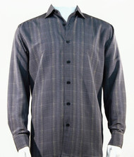 Bassiri Grey Grid Print Long Sleeve Camp Shirt