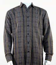 Bassiri Charcoal Grid Print Long Sleeve Camp Shirt