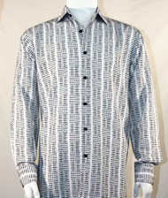 Bassiri White Grid Print Long Sleeve Camp Shirt
