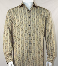 Bassiri Tan Grid Print Long Sleeve Camp Shirt