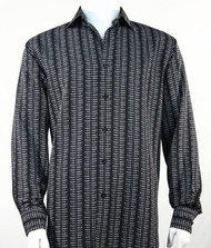 Bassiri Black Grid Print Long Sleeve Camp Shirt