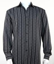 Bassiri Black Grid Print Long Sleeve Camp Shirt