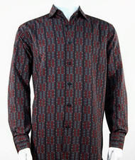 Bassiri Red Grid Print Long Sleeve Camp Shirt