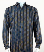 Bassiri Navy Grid Print Long Sleeve Camp Shirt