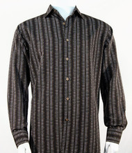 Bassiri Dark Brown Line Print Long Sleeve Camp Shirt