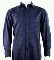 St. Cado Black & Navy Contrasting Cuff Fashion Shirt - Button Cuff