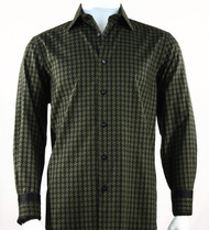 St. Cado Black & Olive Contrasting Cuff Fashion Shirt - Button Cuff