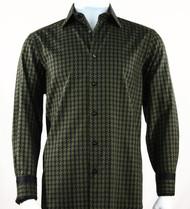 St. Cado Black & Olive Contrasting Cuff Fashion Shirt - Button Cuff