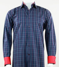 St. Cado Blue & Red Contrasting Cuff Fashion Shirt - Button Cuff