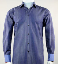 St. Cado Blue Contrasting Cuff Fashion Shirt - Button Cuff