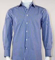 St. Cado White & Blue Fashion Sport Shirt - Button Cuff