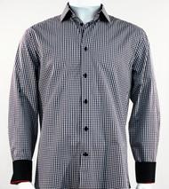 St. Cado Black & White Check Contrasting Cuff Sport Shirt - Button Cuff