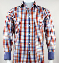 St. Cado Blue Multi Check Contrasting Cuff  Sport Shirt - Button Cuff