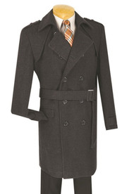 Fortini Slim Fit Double Breasted Wool Top Coat with Belt - Charcoal