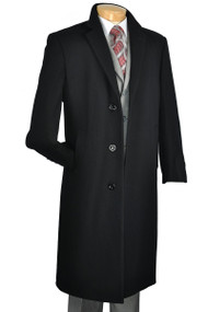 Fortini 3-Button Classic Long Wool Overcoat -  Black