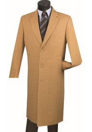 Fortini 3-Button Classic Long Wool Overcoat - Camel