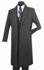 Fortini 3-Button Classic Long Wool Overcoat - Charcoal