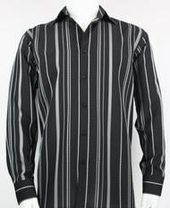 Bassiri  Black & Grey Stripe Design Long Sleeve Camp Shirt