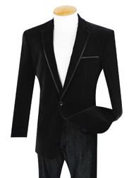 Vinci Black Trimmed Velvet Sportcoat