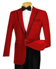 Vinci Red Trimmed Velvet Sportcoat